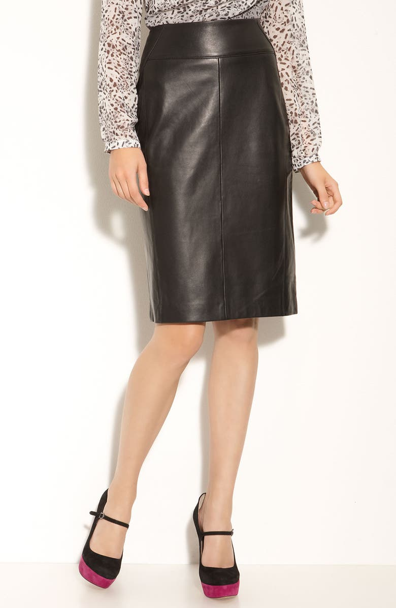 CLASSIQUES ENTIER<SUP>®</SUP> 'Brenna' Leather Skirt, Main, color, 001