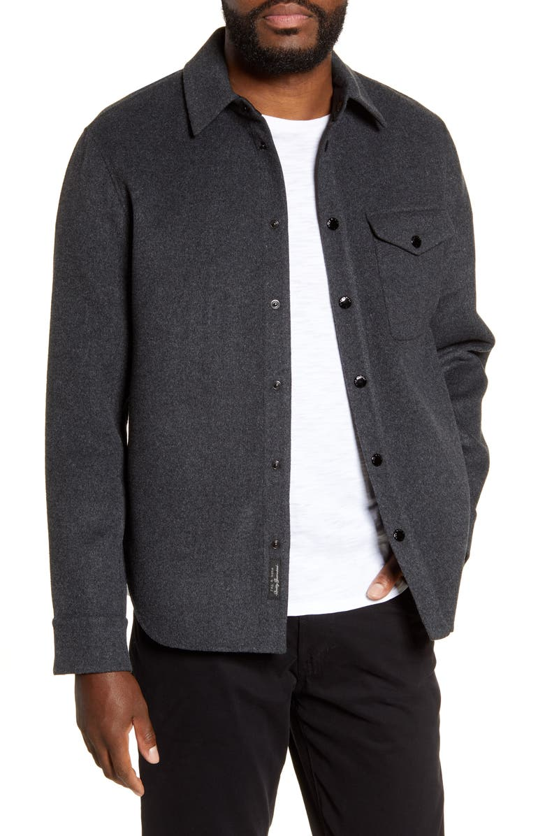 RAG & BONE Principle Snap-Up Wool Blend Shirt Jacket, Main, color, HEATHER BLACK