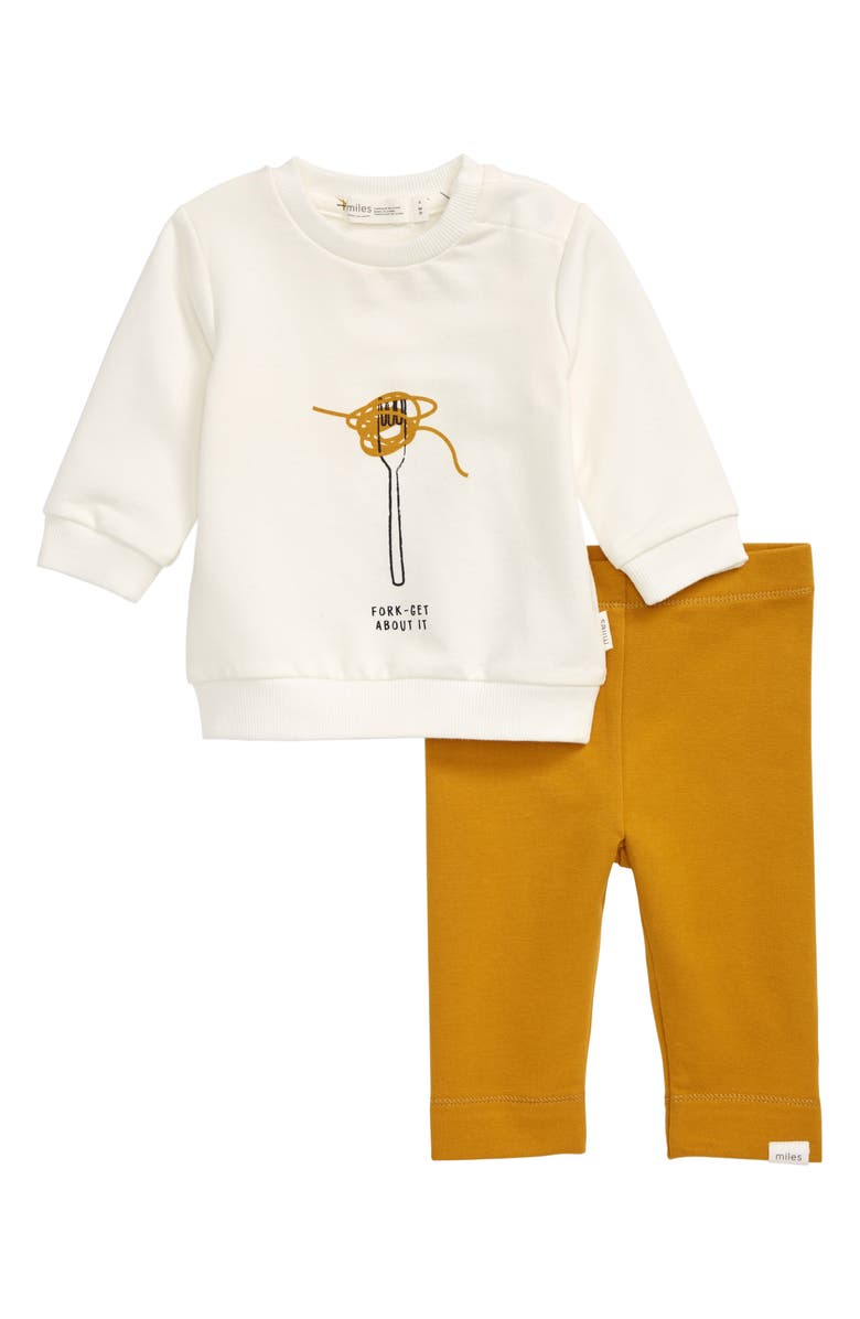 MILES BABY Forks Graphic Sweatshirt & Leggings Set, Main, color, 110