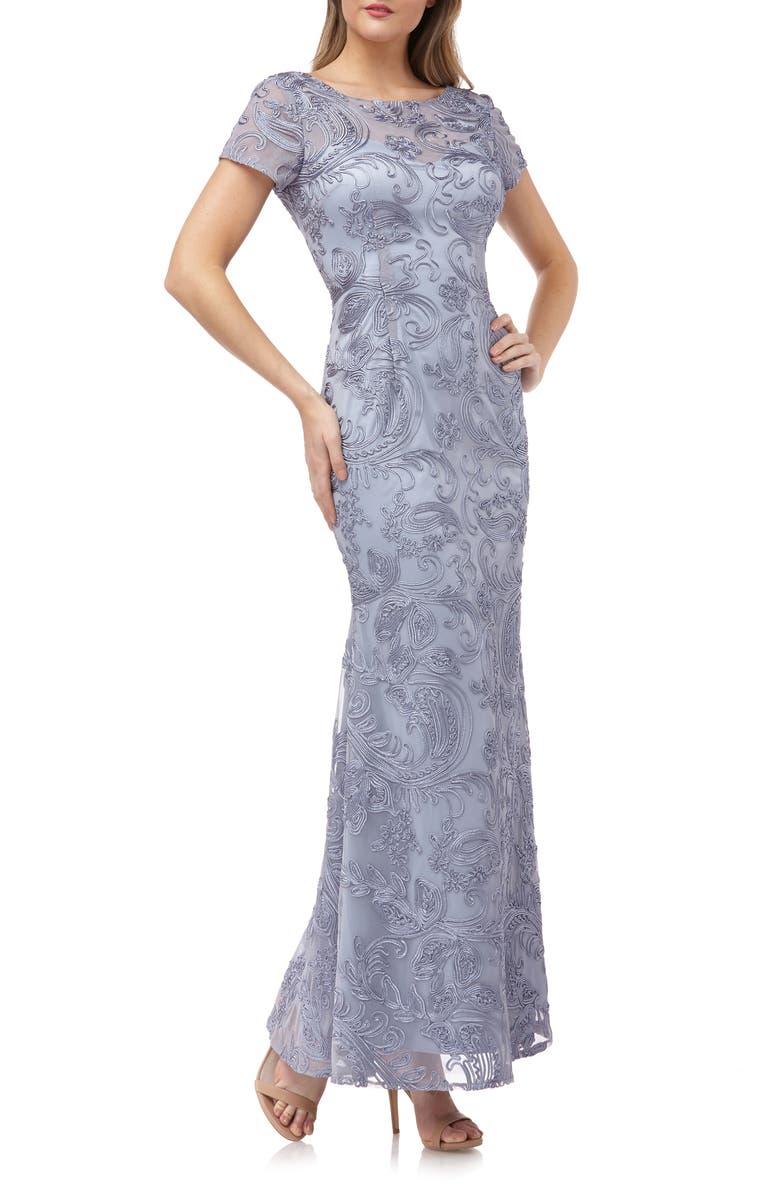 JS COLLECTIONS Soutache Trumpet Gown, Main, color, SLATE