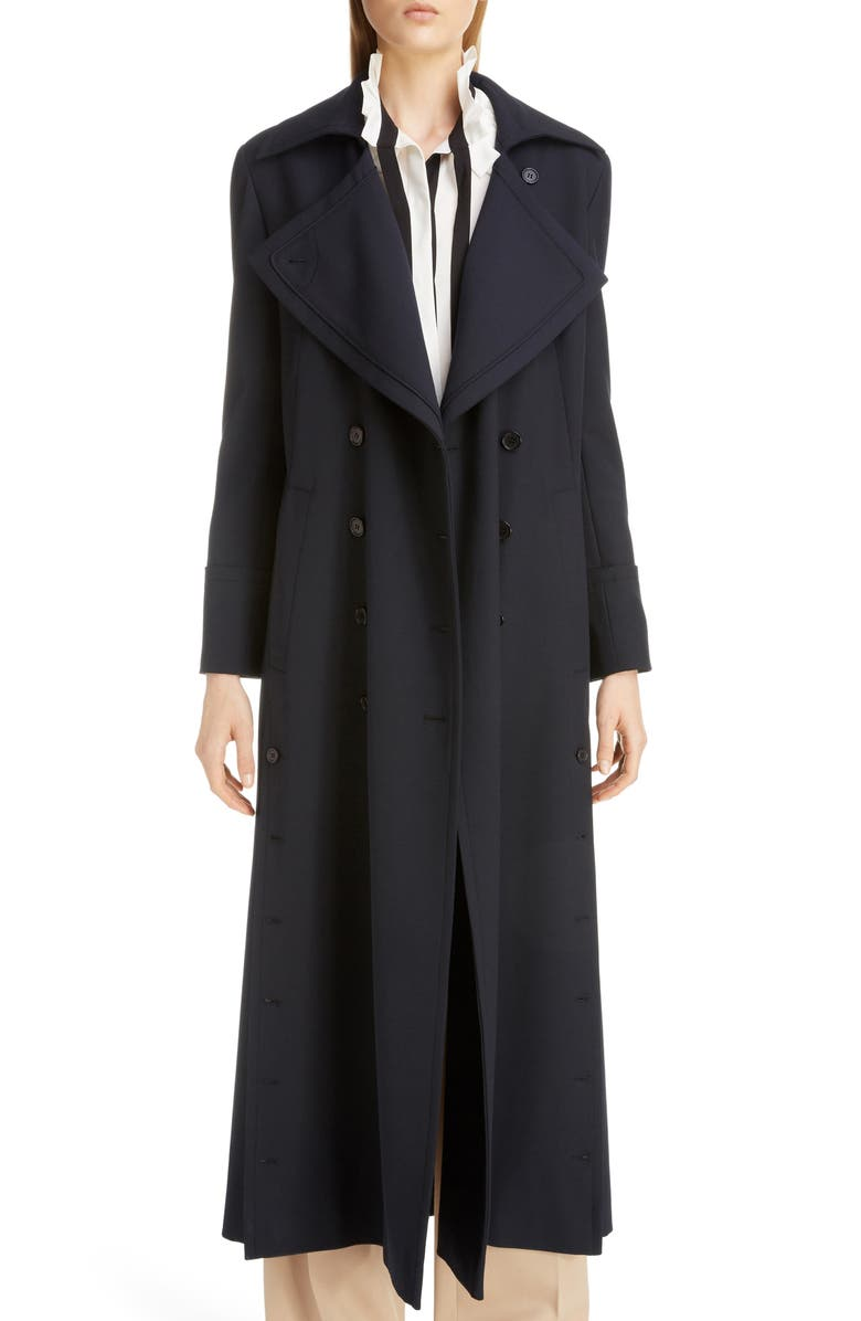 CHLOÉ Button Detail Long Trench Coat, Main, color, ICONIC NAVY
