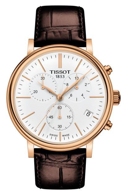 Tissot Watches CARSON PREMIUM CHRONOGRAPH LEATHER STRAP WATCH, 41MM