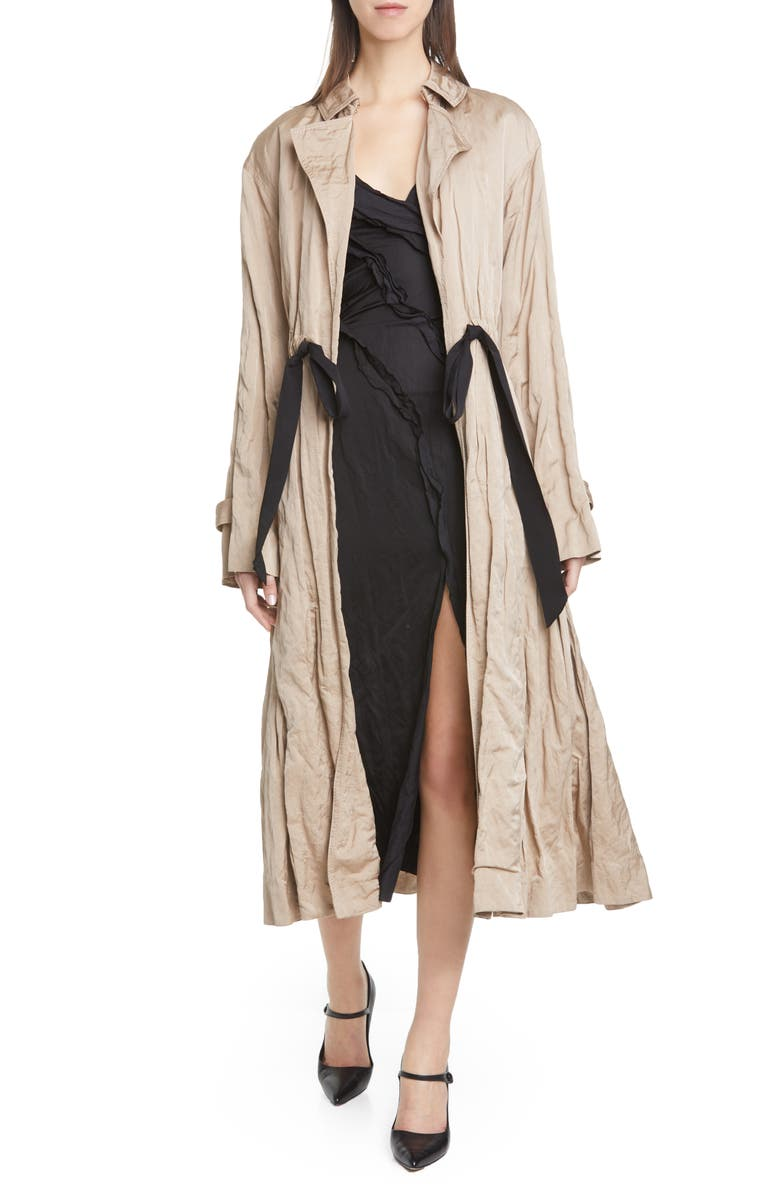 JASON WU COLLECTION Tie Waist Washed Sateen Coat, Main, color, KHAKI