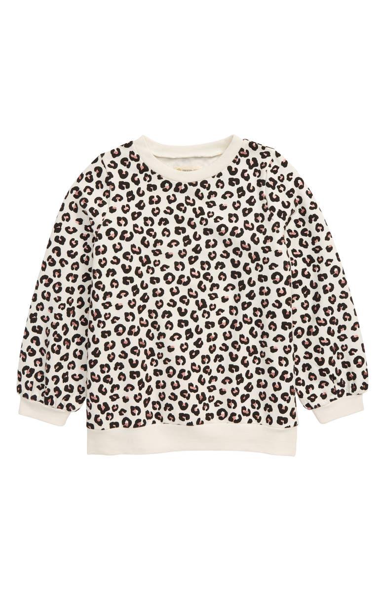 TUCKER + TATE Sparkle Leopard Spot Sweatshirt, Main, color, IVORY EGRET SNOW LEOPARD