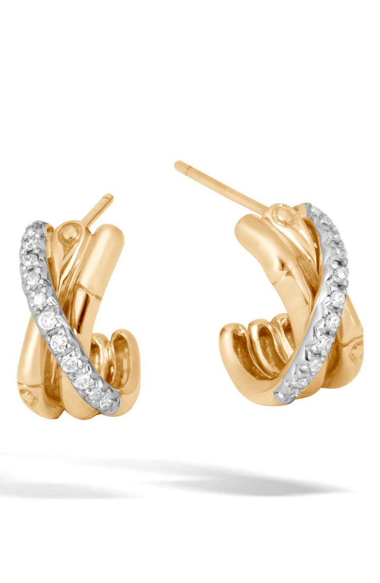JOHN HARDY Bamboo Gold & Diamond Small J-Hoop Earrings, Main, color, GOLD/ DIAMOND