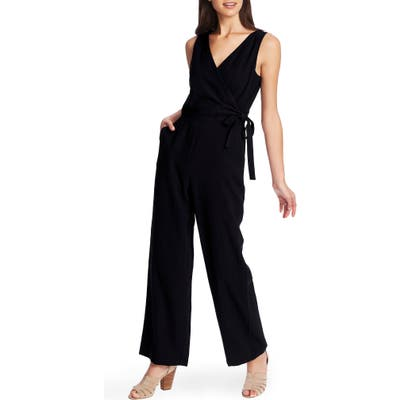1.state Wrap Front Sleeveless Soft Twill Jumpsuit, Black