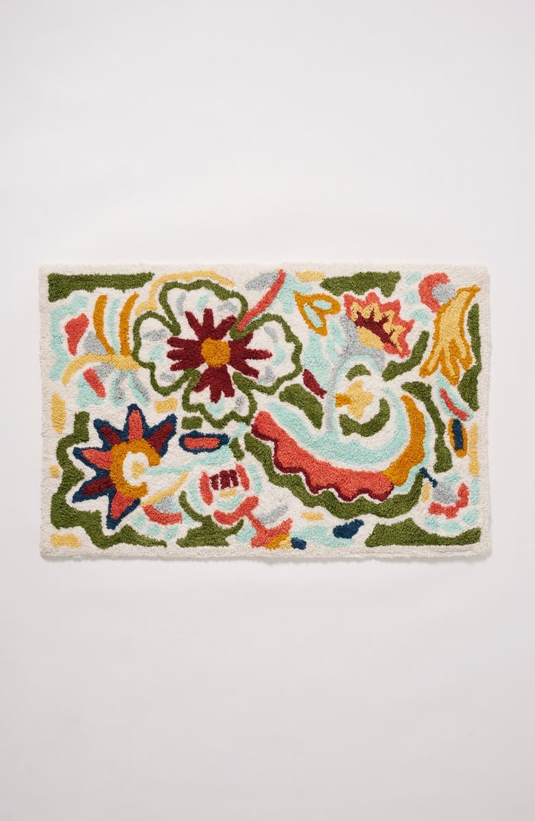 ANTHROPOLOGIE HOME Floral Bath Mat, Main, color, 100