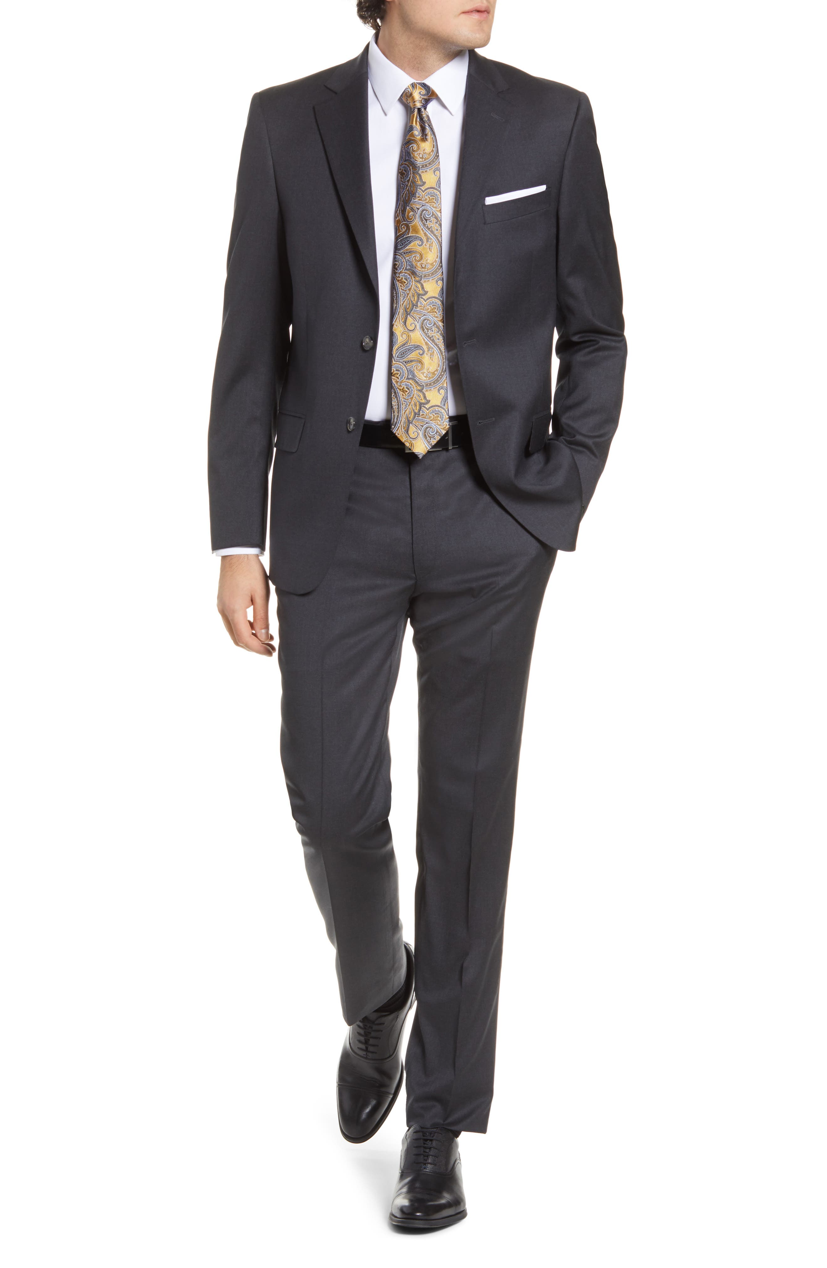 New York Classic Fit Solid Stretch Wool Suit