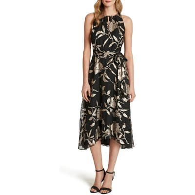 Tahari Floral Burnout High/low Cocktail Dress, Black