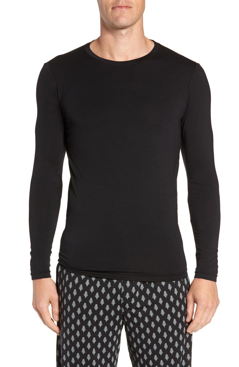 TOMMY JOHN Sleek Heat Crewneck Long Sleeve T-Shirt, Main, color, BLACK