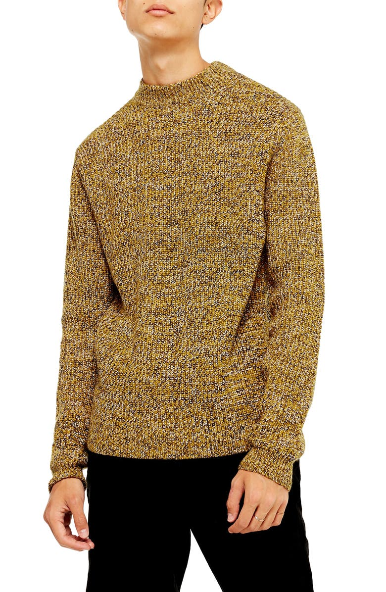 TOPMAN Twist Mock Neck Sweater, Main, color, BROWN MULTI