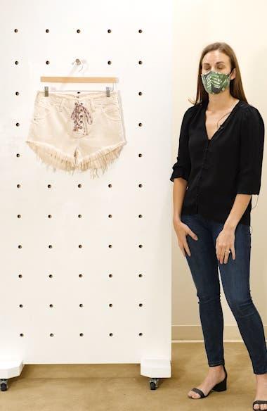 Becket Lace-Up Cutoff Denim Shorts, sales video thumbnail