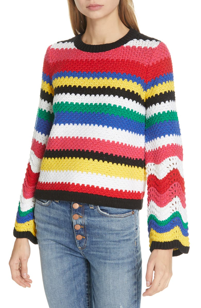 ALICE + OLIVIA Alivia Stripe Bell Sleeve Cotton Blend Sweater, Main, color, 560