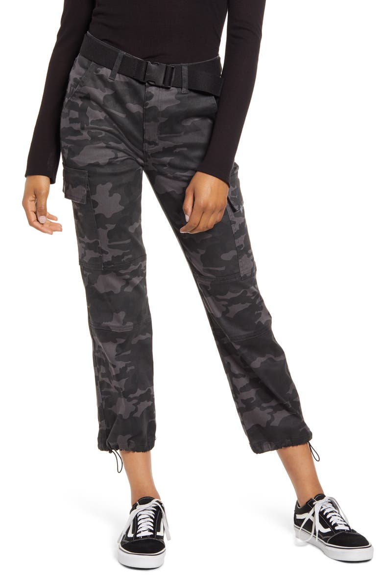 PROSPERITY DENIM Belted Camo Ankle Straight Leg Pants, Main, color, CAMO