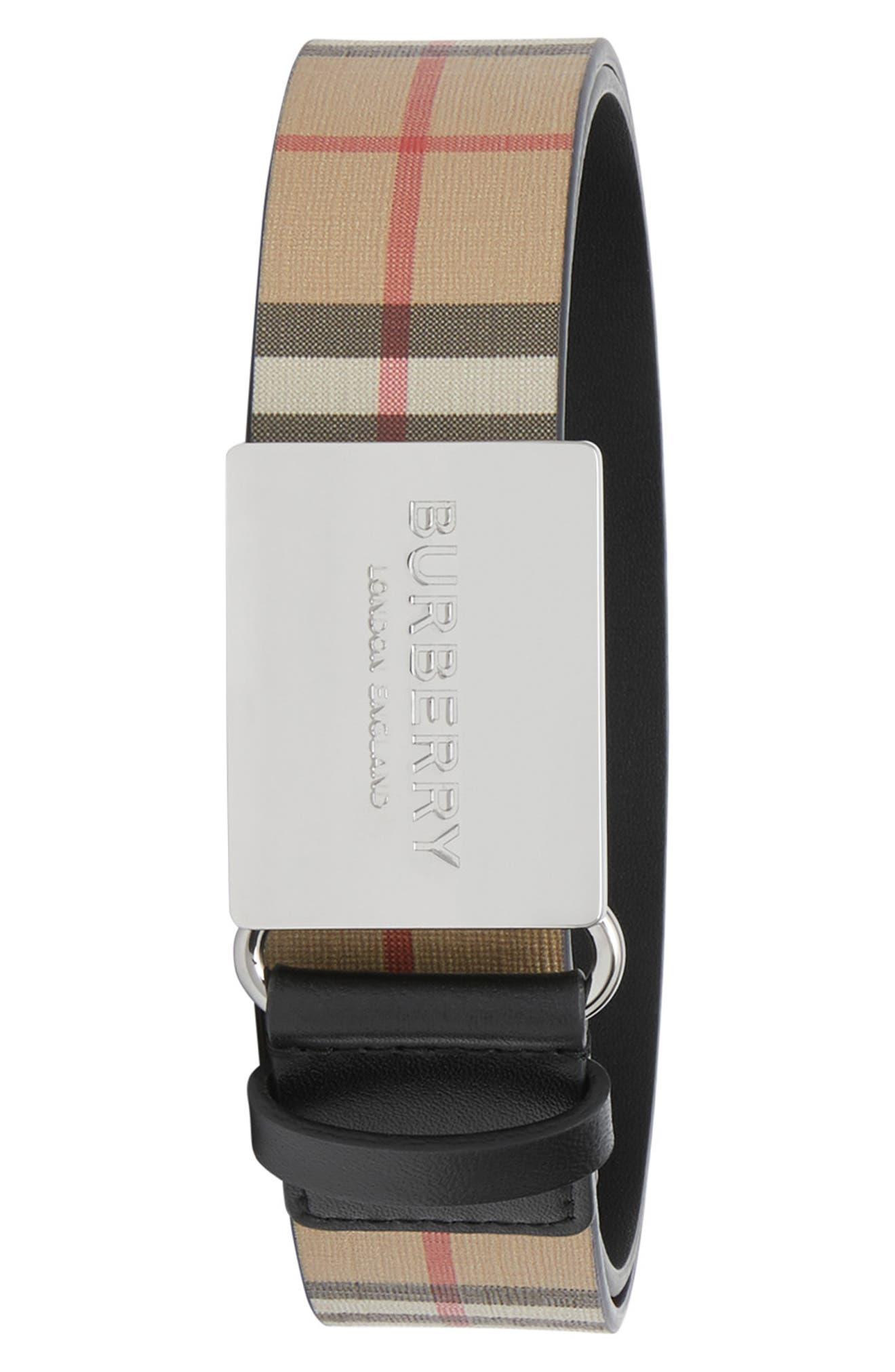 Burberry Belt Vintage Check Plaque Buckle Belt