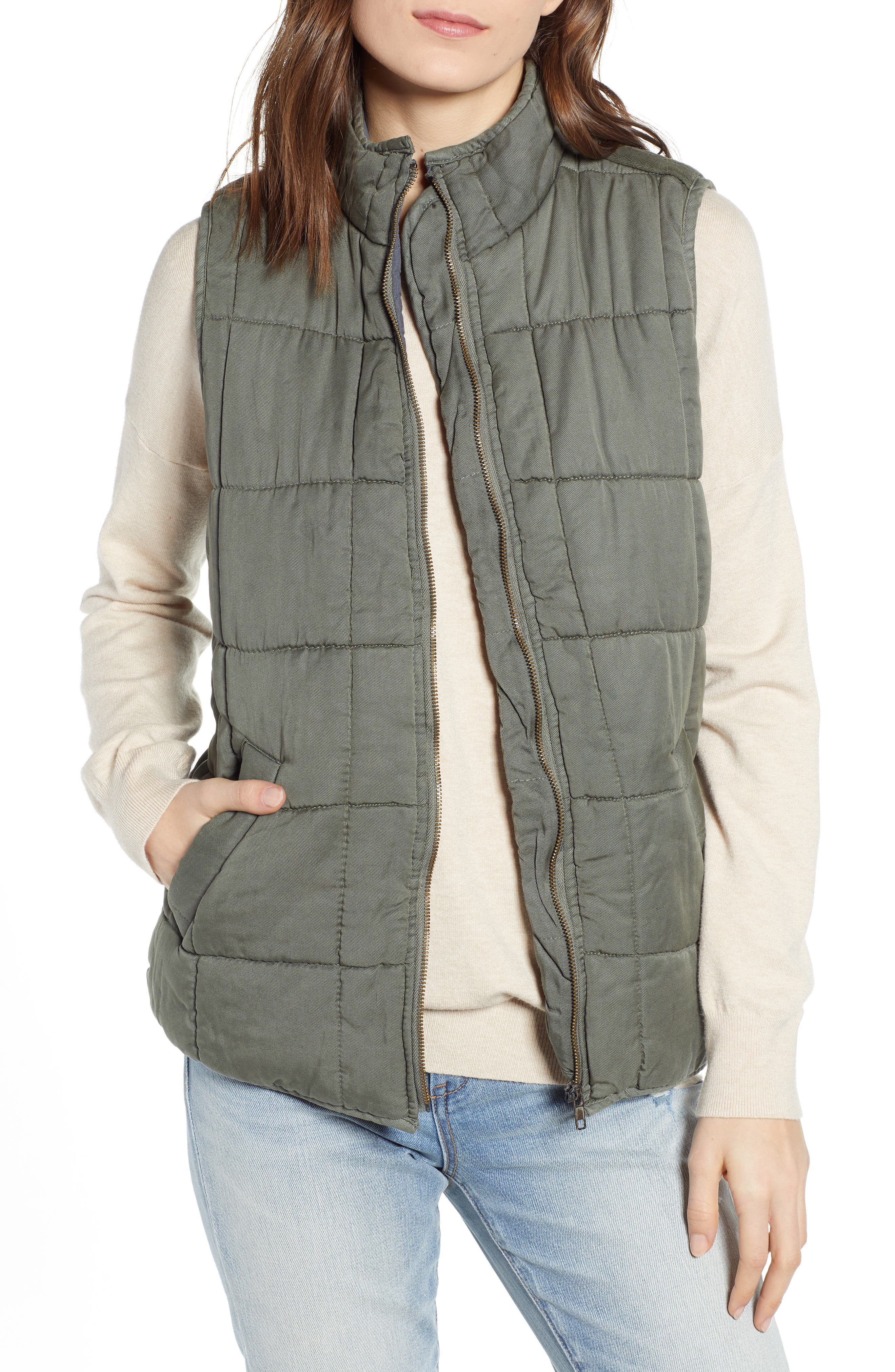 Thread & Supply Kensington Quilted Vest, Green