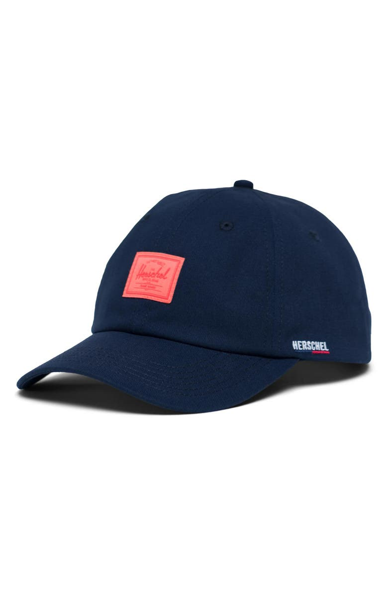 HERSCHEL SUPPLY CO. Mosby Curve Snapback Cap, Main, color, PEACOAT/ HOT CORAL