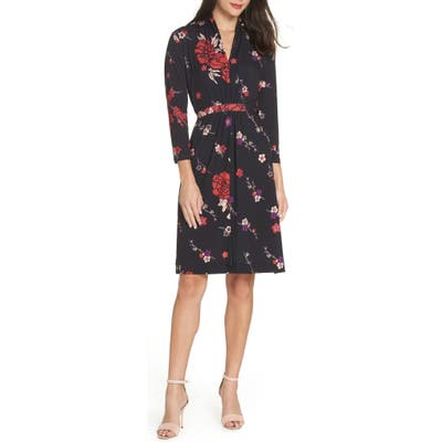 French Connection Long Sleeve Ruched Dress, Black