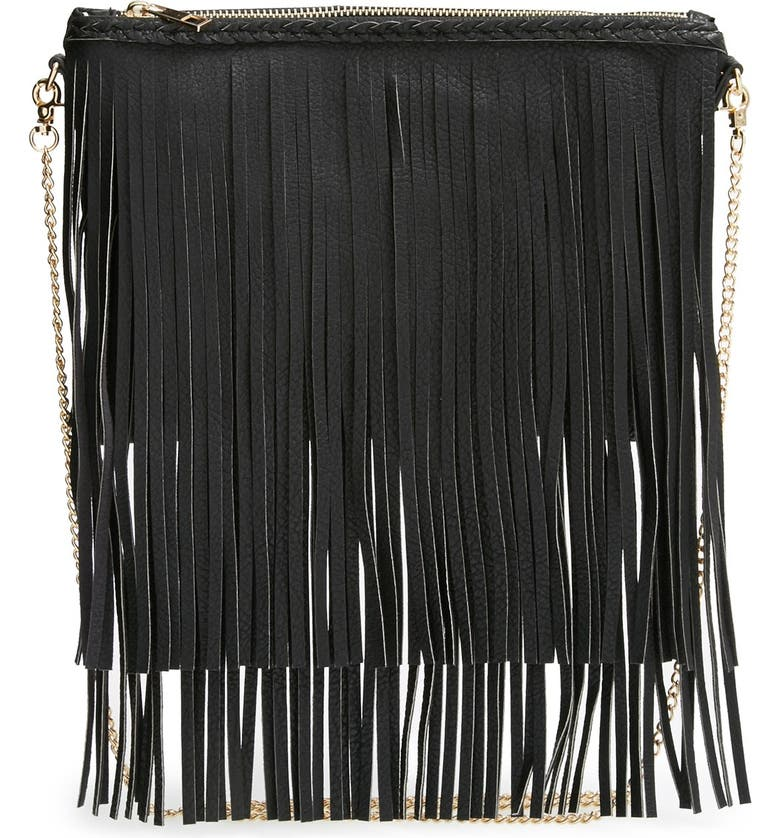 SOLE SOCIETY 'Rose' Fringe Faux Leather Convertible Crossbody Bag, Main, color, 001
