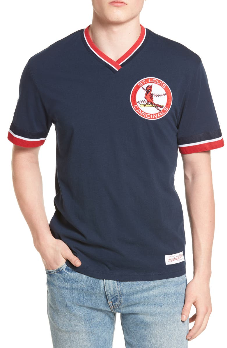 best service 7d20d 647a8 Mitchell & Ness St. Louis Cardinals - Vintage V-Neck T-Shirt ...