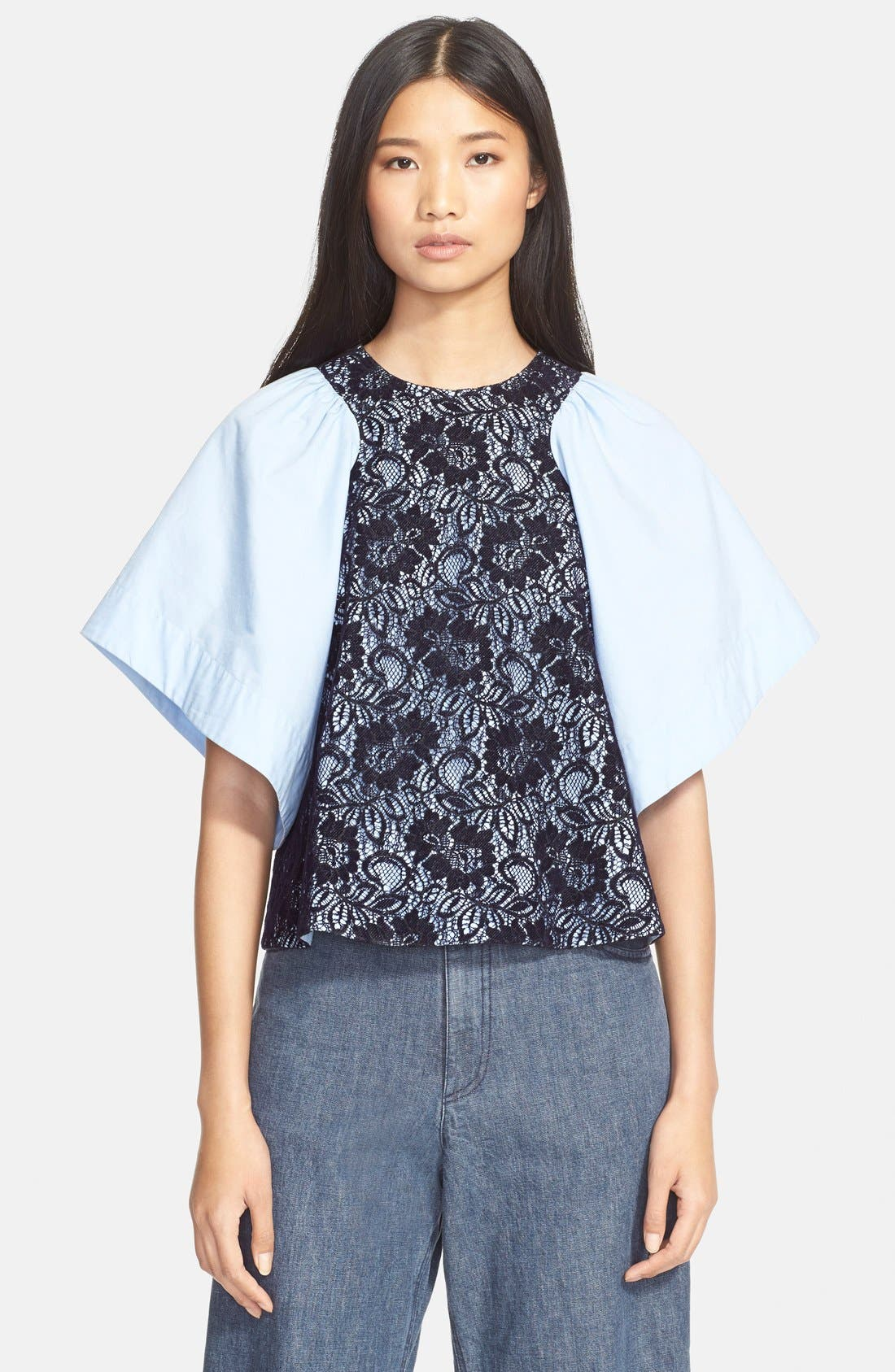 ,                             'Ravine' Bell Sleeve Silk & Linen Top,                             Main thumbnail 14, color,                             410