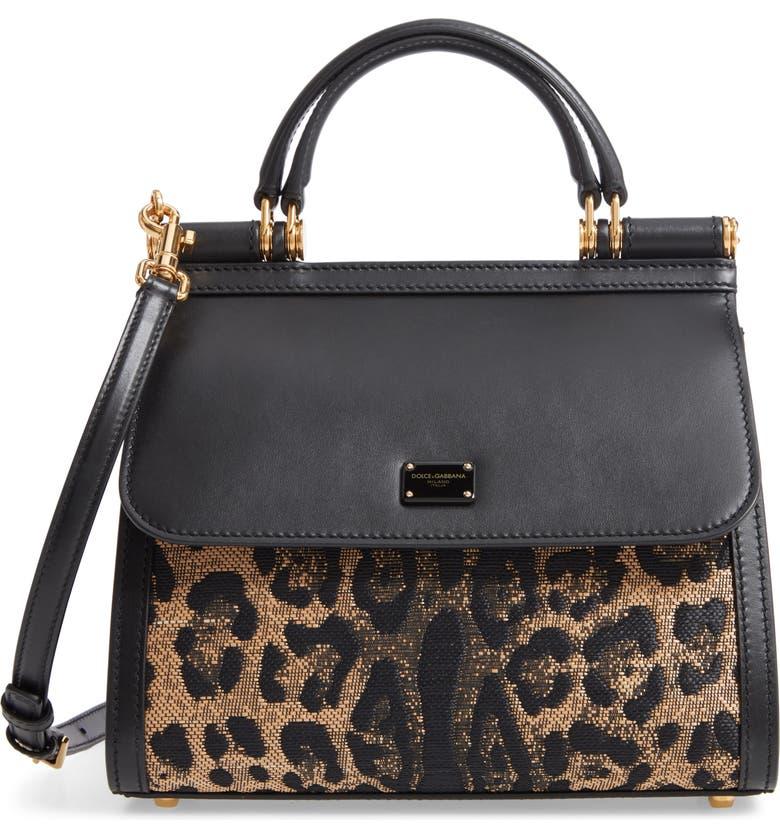 DOLCE&GABBANA Sicily 58 Leopard Pattern & Leather Satchel, Main, color, 960