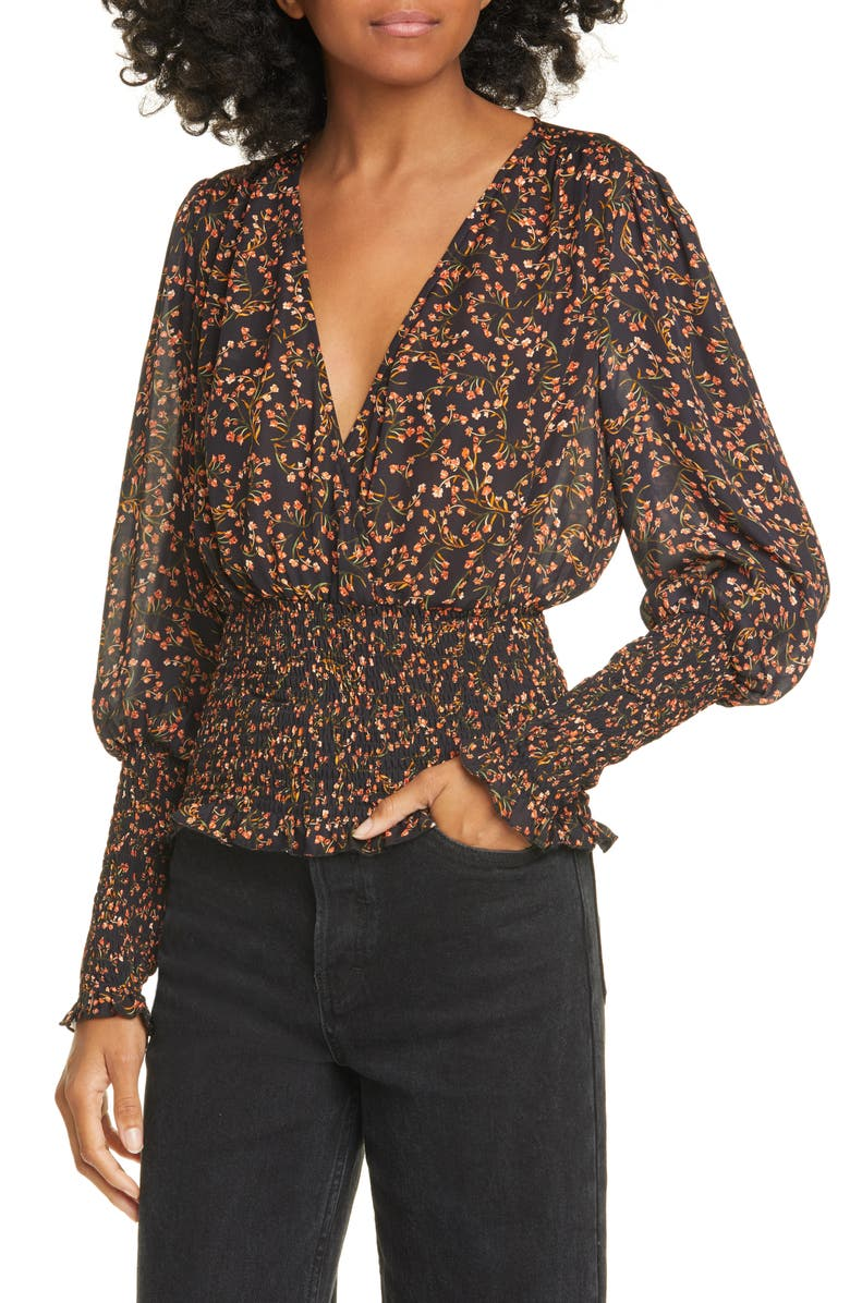 NICHOLAS Floral Smocked Silk Blouse, Main, color, PERSIMMON MULTI