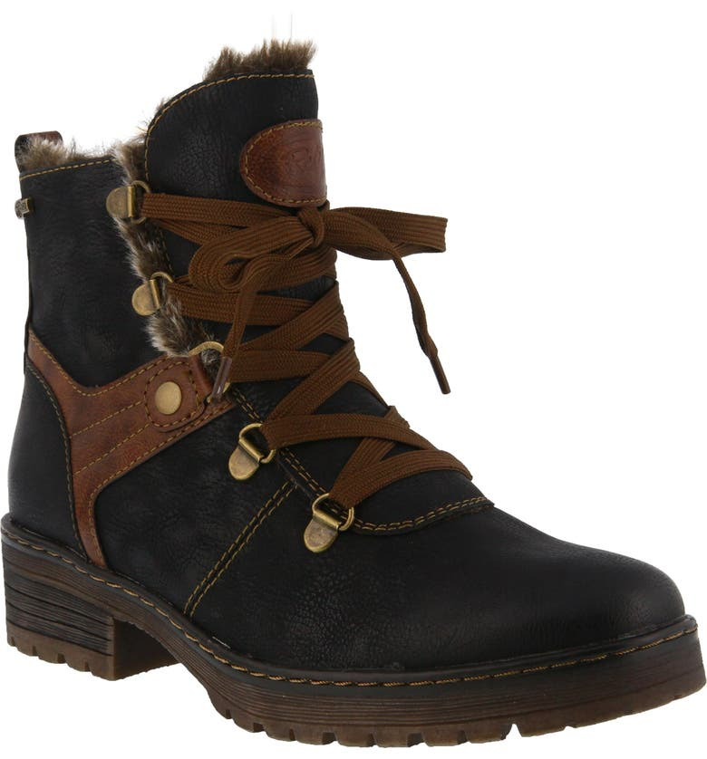 SPRING STEP Micha Faux Fur Lined Hiking Boot, Main, color, BLACK FAUX LEATHER