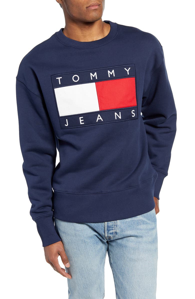 TOMMY JEANS TJM Tommy Flag Appliqué Crewneck Sweatshirt, Main, color, BLUE