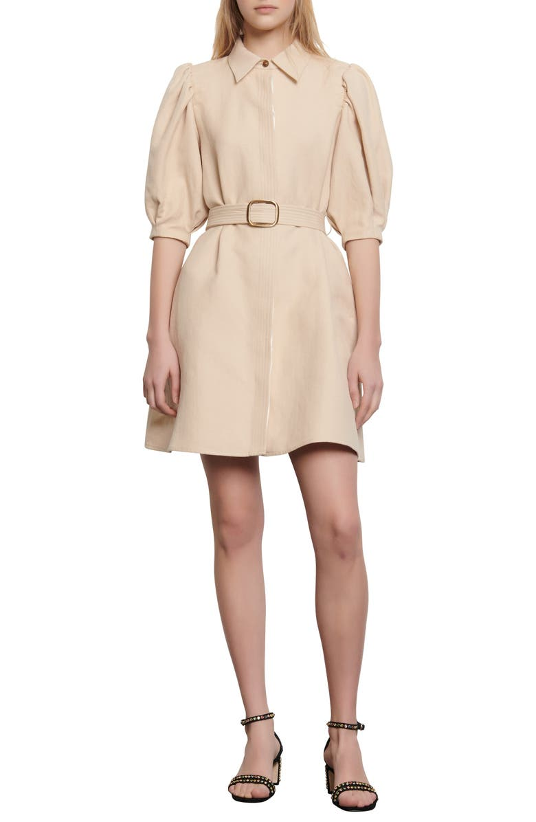 SANDRO Luno Puff Sleeve Shirtdress, Main, color, BEIGE
