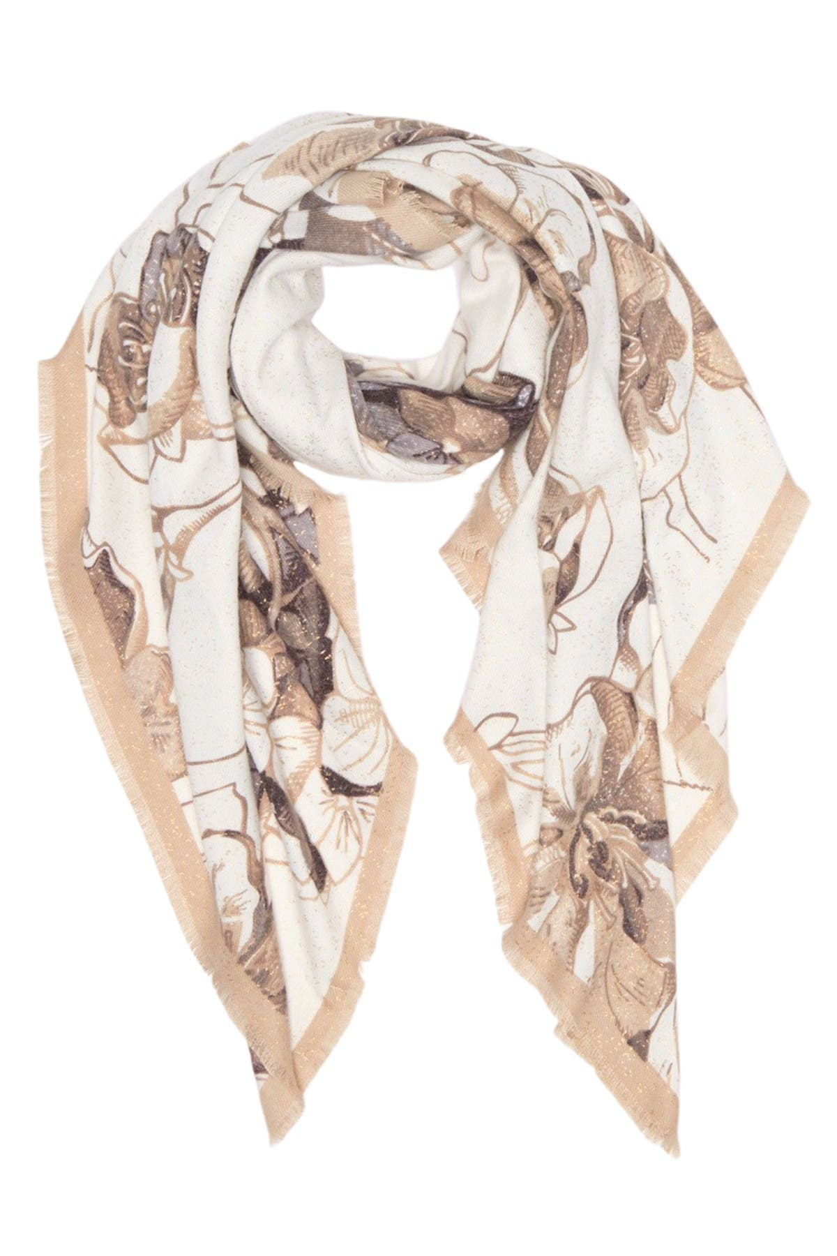 Image of Max Studio Etched Floral Print Square Scarf