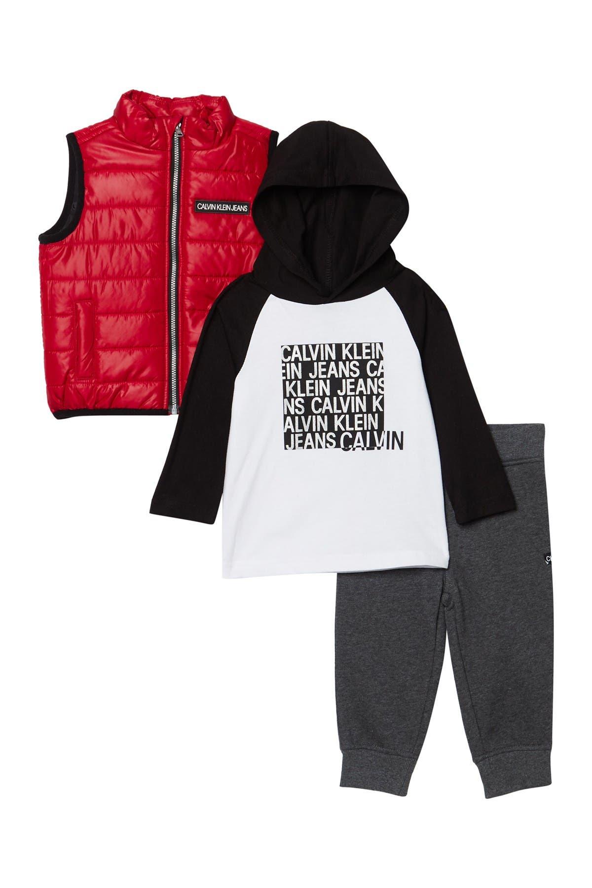Image of Calvin Klein Puffer Vest, Top, & Pants Set