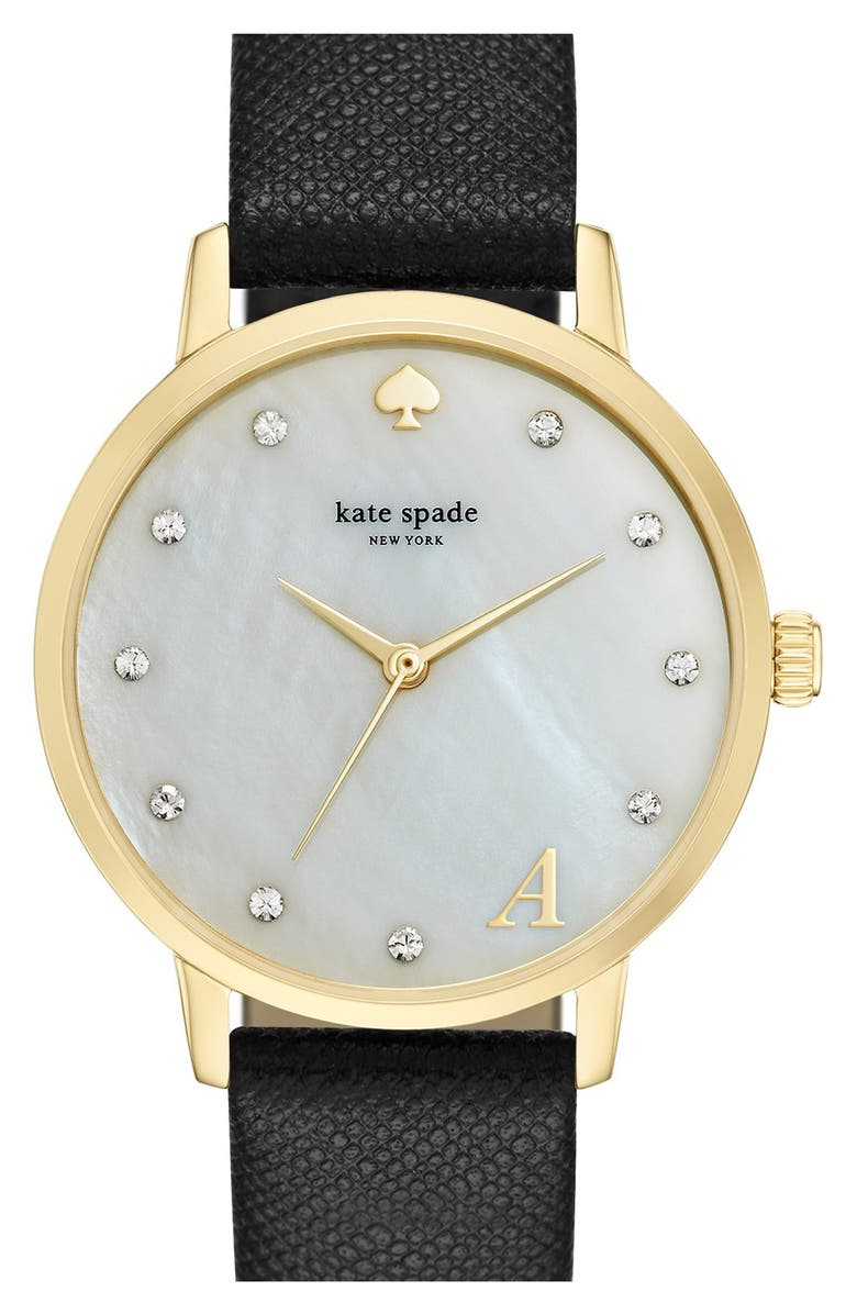 KATE SPADE NEW YORK 'metro - monogram' leather strap watch, 34mm, Main, color, 001