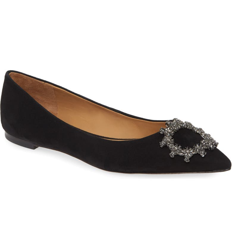 TORY BURCH Crystal Buckle Flat, Main, color, PERFECT BLACK