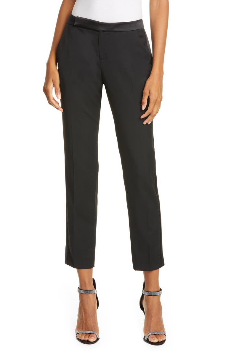 EQUIPMENT Burcet Tuxedo Detail Wool Trousers, Main, color, 001