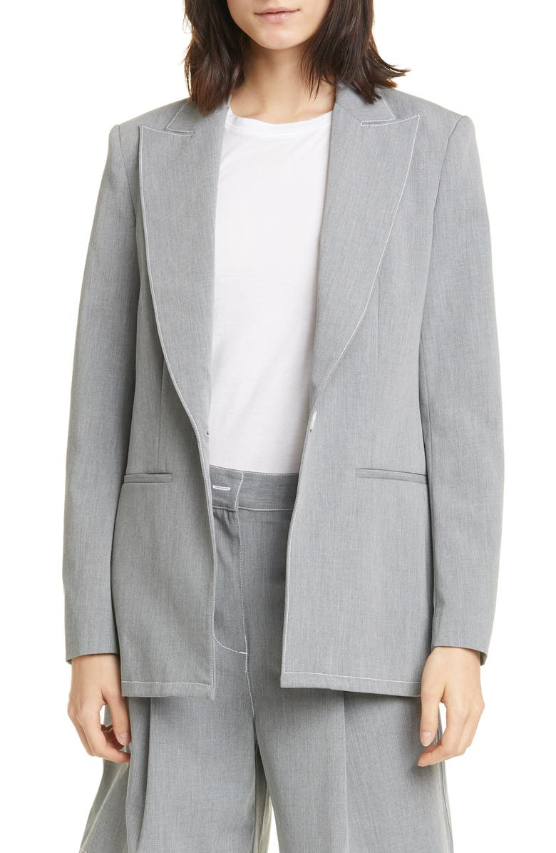 STAUD Ren Contrast Stitch Blazer, Main, color, STONE