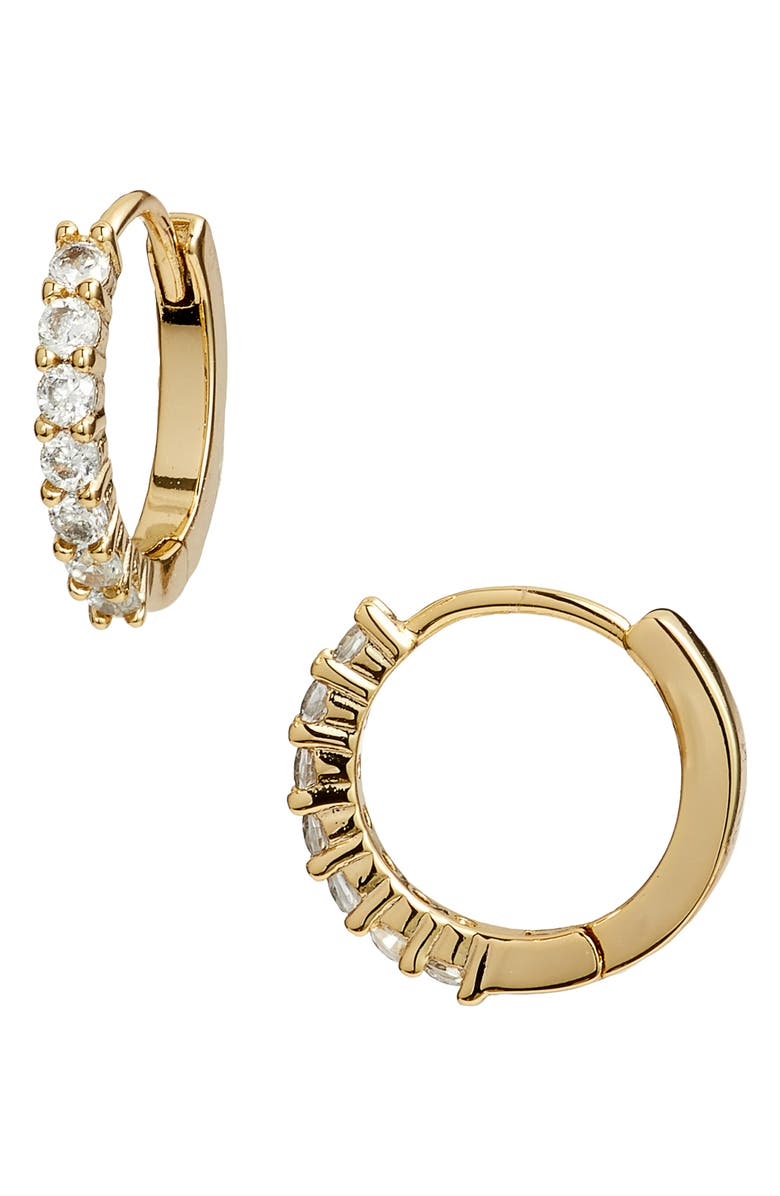 NORDSTROM Pavé Half Stone Huggie Hoop Earrings, Main, color, CLEAR- GOLD