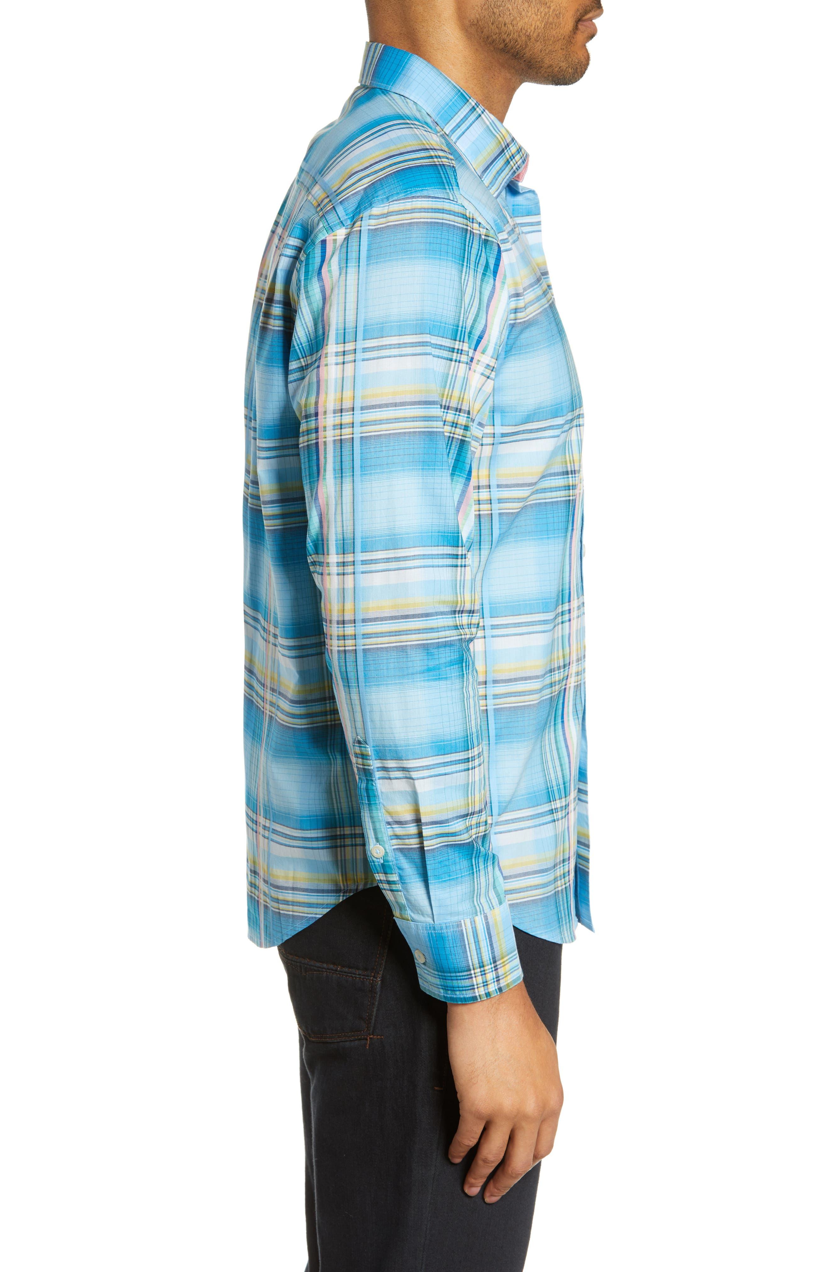 ,                             Palau Classic Fit Plaid Sport Shirt,                             Alternate thumbnail 4, color,                             BEACH HUT BLUE