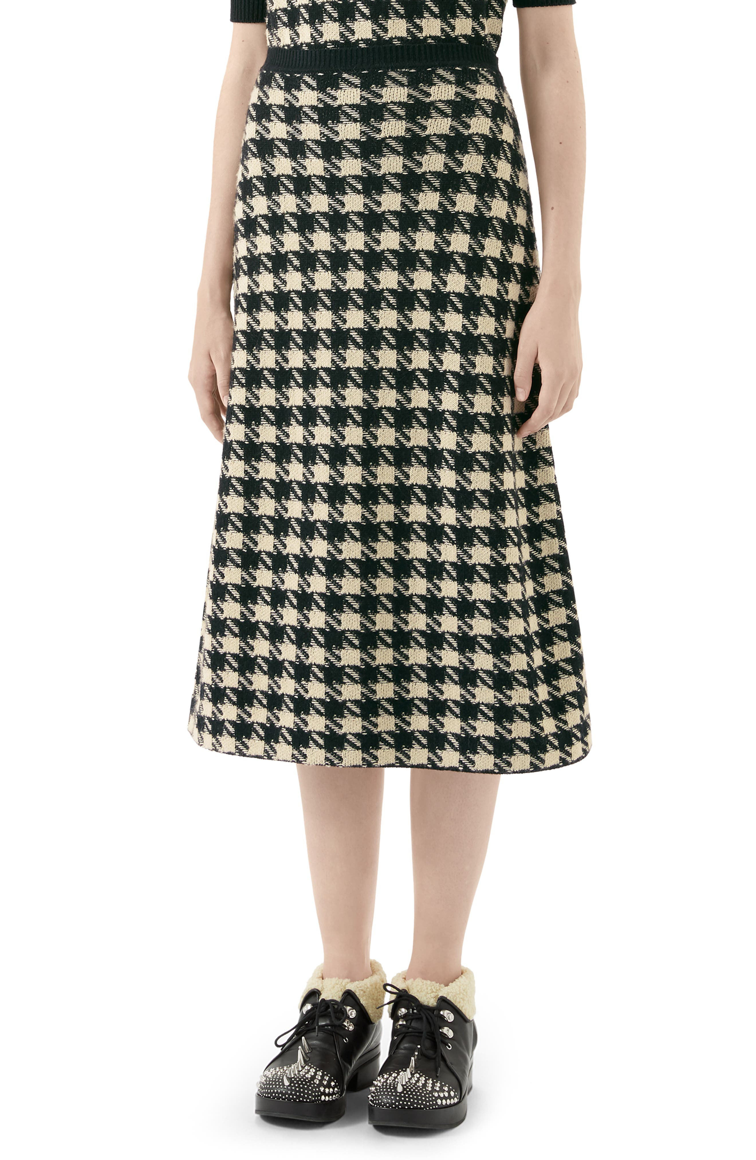 Gucci Knits Houndstooth Jacquard Cashmere & Silk Midi Sweater Skirt