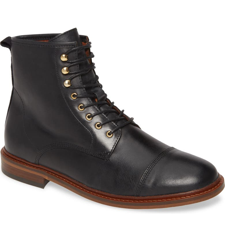 SHOE THE BEAR Curtis Cap Toe Boot, Main, color, BLACK LEATHER