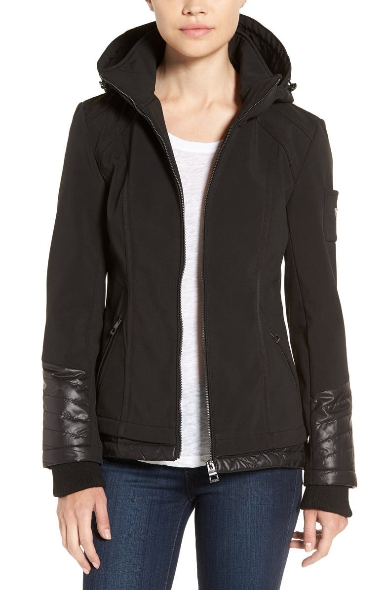 70f7fe0b2 GUESS Water Resistant Hooded Soft Shell Jacket | Nordstrom