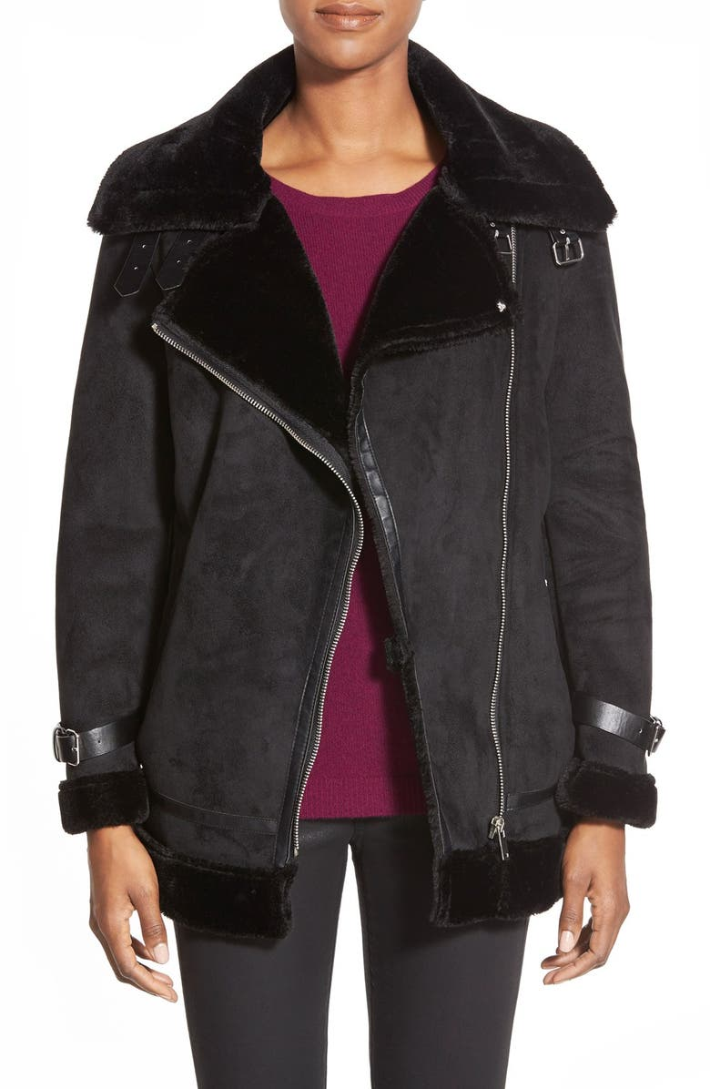 LAUNDRY BY SHELLI SEGAL Laundry by ShelliSegalFauxShearling Moto Jacket, Main, color, 001