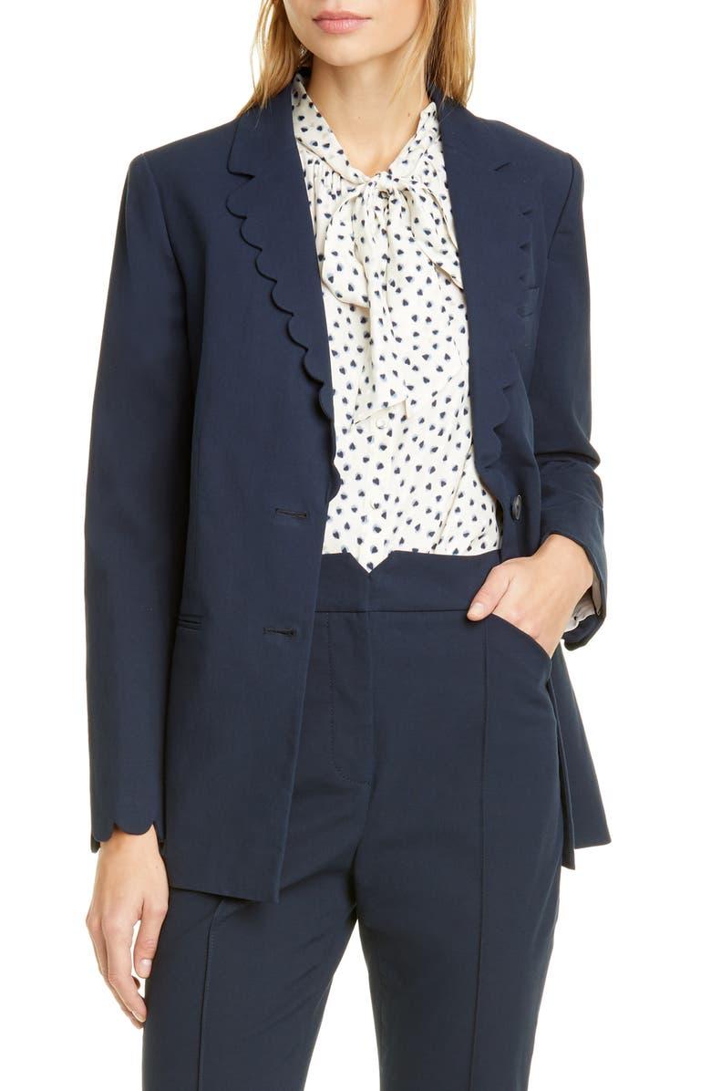 REBECCA TAYLOR Scalloped Jacket, Main, color, NAVY