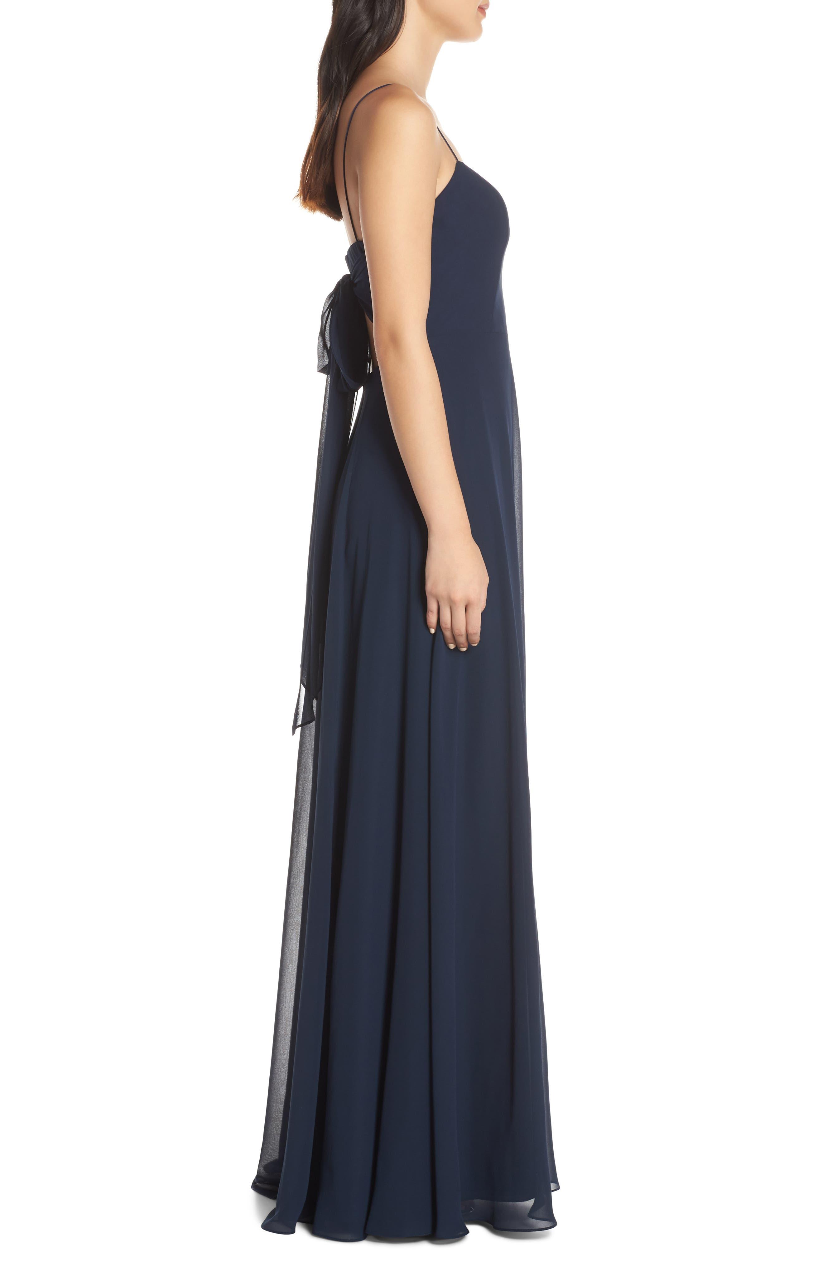 ,                             Kiara Bow Back Chiffon Evening Dress,                             Alternate thumbnail 3, color,                             NAVY