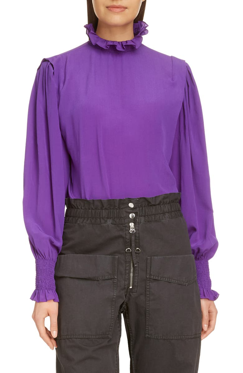 ISABEL MARANT ÉTOILE Yoshi Puff Sleeve Top, Main, color, PURPLE