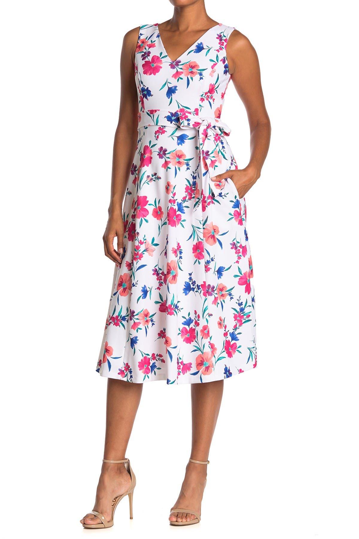 Image of Calvin Klein Floral Tie Waist Midi Dress