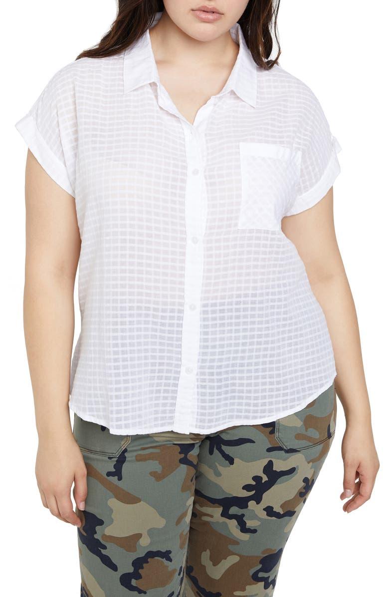 SANCTUARY Mod Short Sleeve Boyfriend Shirt, Main, color, WHITE