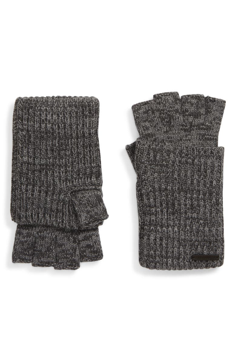 ALLSAINTS Twisted Knit Fingerless Gloves, Main, color, GREY MARL/ CHARCOAL