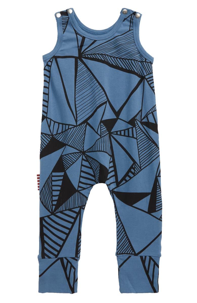 SOOKIBABY Triangular Print Romper, Main, color, BLUE