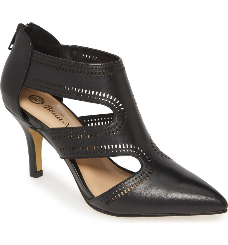 BELLA VITA Hope Perforated Cage Pointed Toe Pump, Main, color, BLACK LEATHER
